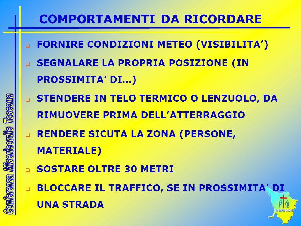 COMPORTAMENTI DA RICORDARE FORNIRE CONDIZIONI METEO (VISIBILITA) SEGNALARE LA PROPRIA POSIZIONE (IN PROSSIMITA DI…) STENDERE IN TELO TERMICO O LENZUOLO, DA RIMUOVERE PRIMA DELLATTERRAGGIO RENDERE SICUTA LA ZONA (PERSONE, MATERIALE) SOSTARE OLTRE 30 METRI BLOCCARE IL TRAFFICO, SE IN PROSSIMITA DI UNA STRADA
