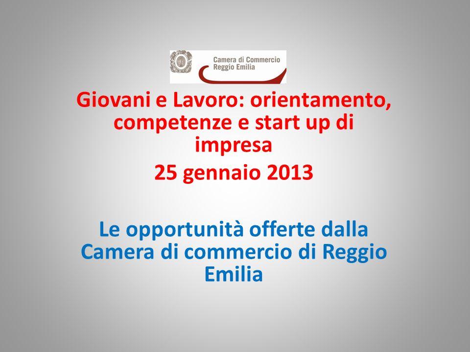 Giovani e Lavoro: orientamento, competenze e start up di impresa 25 gennaio 2013 Le opportunità offerte dalla Camera di commercio di Reggio Emilia