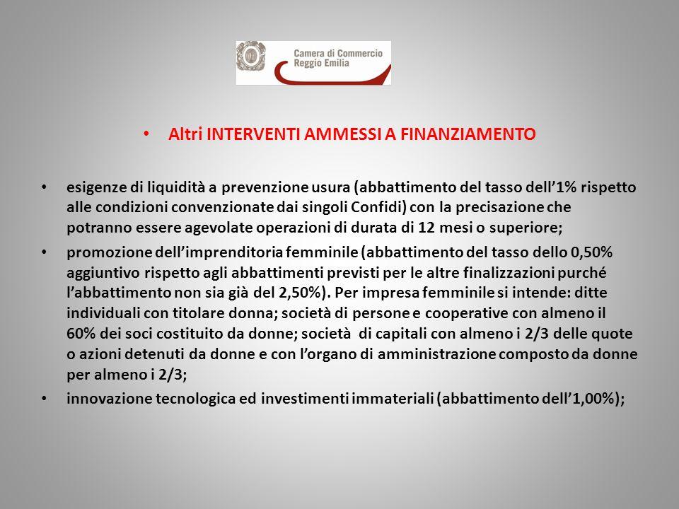 Altri INTERVENTI AMMESSI A FINANZIAMENTO esigenze di liquidità a prevenzione usura (abbattimento del tasso dell1% rispetto alle condizioni convenziona