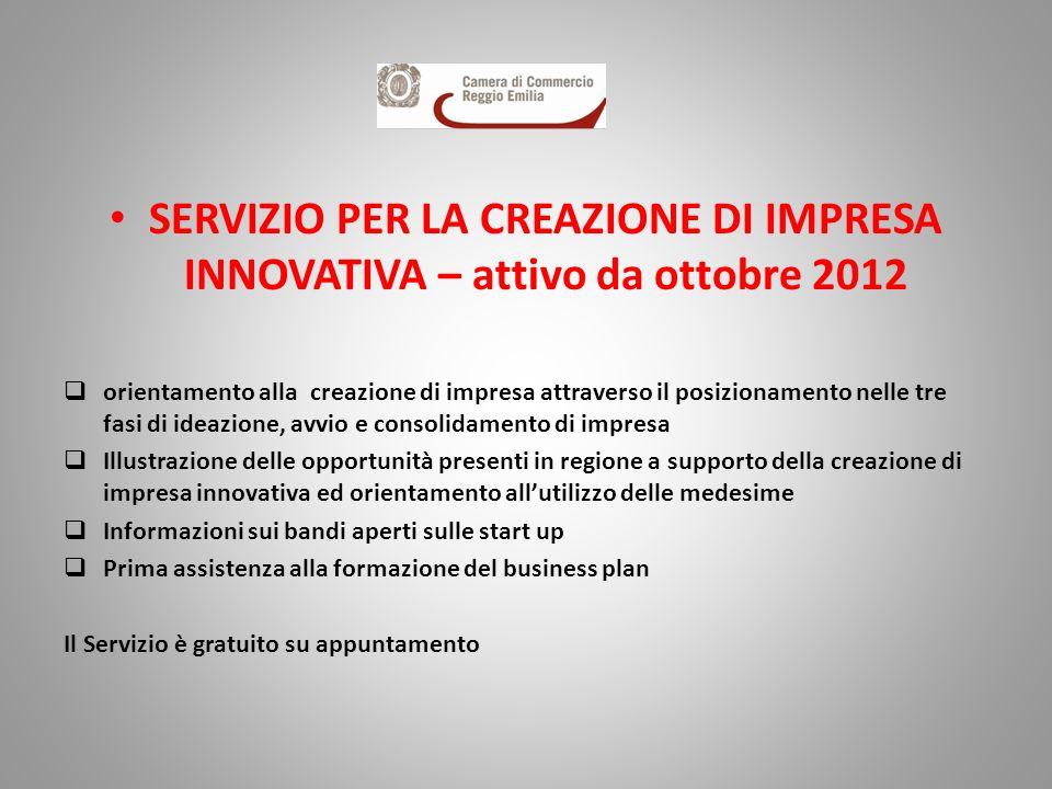 SERVIZIO PER LA CREAZIONE DI IMPRESA INNOVATIVA – attivo da ottobre 2012 orientamento alla creazione di impresa attraverso il posizionamento nelle tre
