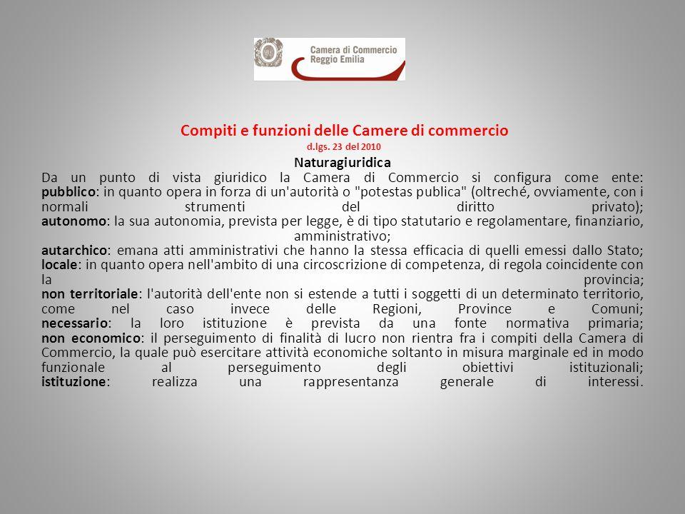 Compiti e funzioni delle Camere di commercio d.lgs. 23 del 2010 Naturagiuridica Da un punto di vista giuridico la Camera di Commercio si configura com