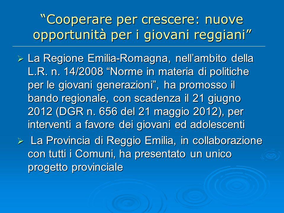 Cooperare per crescere: nuove opportunità per i giovani reggiani La Regione Emilia-Romagna, nellambito della L.R.