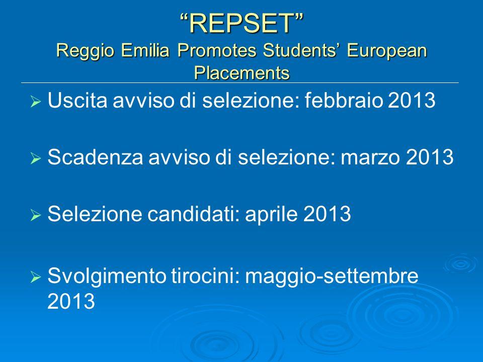 REPSET Reggio Emilia Promotes Students European Placements Uscita avviso di selezione: febbraio 2013 Scadenza avviso di selezione: marzo 2013 Selezione candidati: aprile 2013 Svolgimento tirocini: maggio-settembre 2013