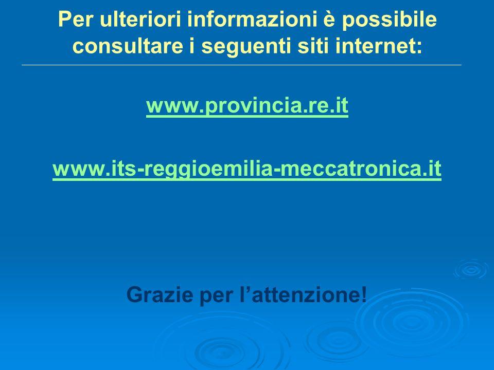 Per ulteriori informazioni è possibile consultare i seguenti siti internet: www.provincia.re.it www.its-reggioemilia-meccatronica.it Grazie per lattenzione!