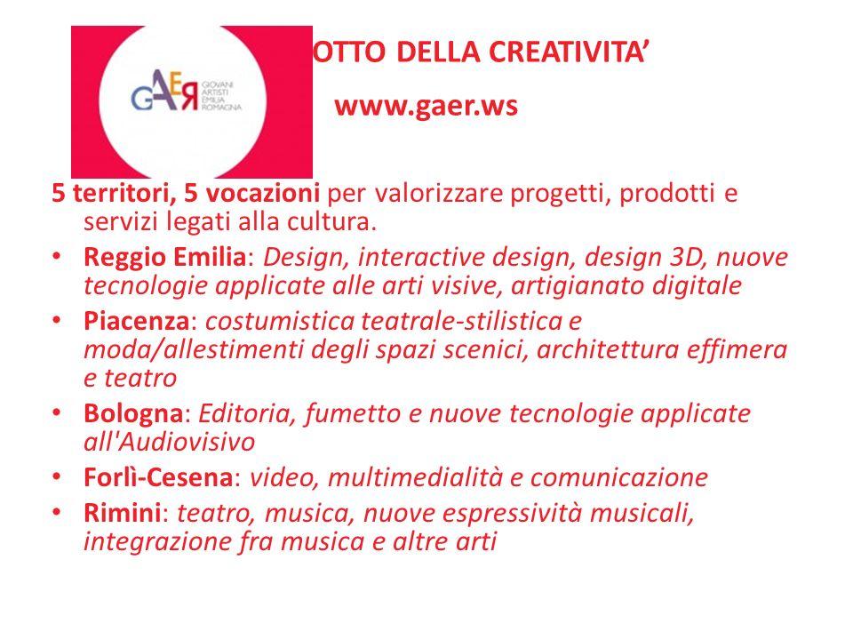 IL PRODOTTO DELLA CREATIVITA www.gaer.ws 5 territori, 5 vocazioni per valorizzare progetti, prodotti e servizi legati alla cultura. Reggio Emilia: Des