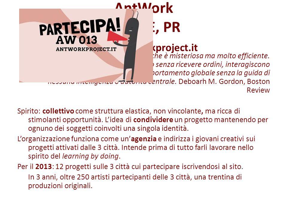 AntWork MO, RE, PR www.antworkproject.it Lorganizzazione delle colonie di formiche è misteriosa ma molto efficiente. I membri delle colonie fanno tutt