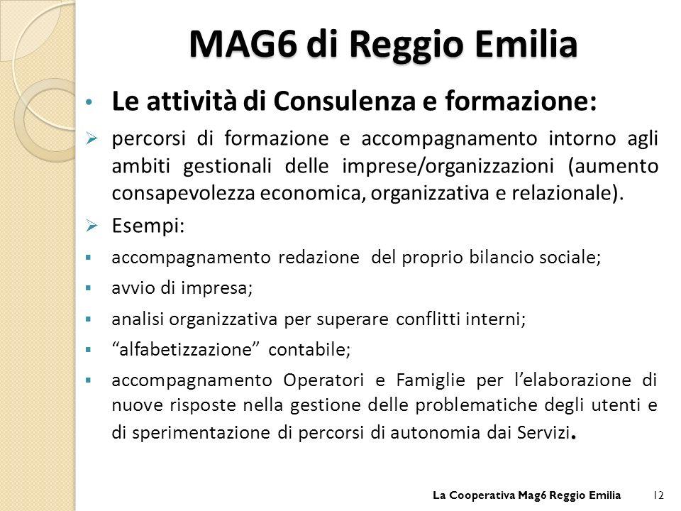 MAG6 di Reggio Emilia Le attività di Consulenza e formazione: percorsi di formazione e accompagnamento intorno agli ambiti gestionali delle imprese/organizzazioni (aumento consapevolezza economica, organizzativa e relazionale).