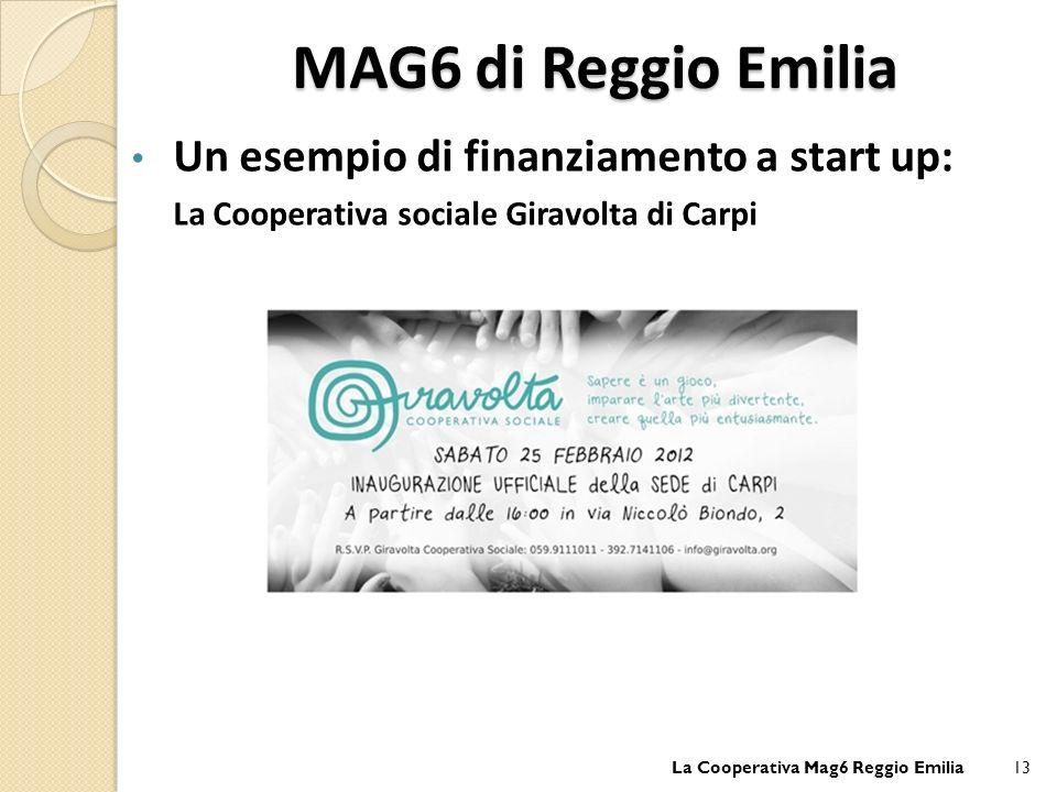 MAG6 di Reggio Emilia Un esempio di finanziamento a start up: La Cooperativa sociale Giravolta di Carpi La Cooperativa Mag6 Reggio Emilia13