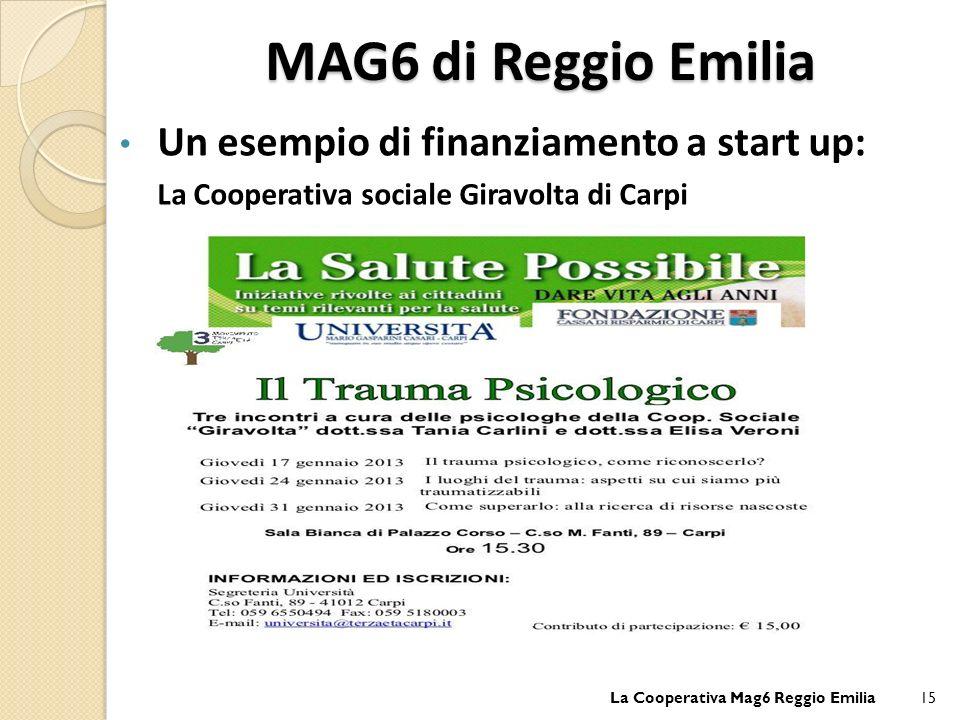 MAG6 di Reggio Emilia Un esempio di finanziamento a start up: La Cooperativa sociale Giravolta di Carpi La Cooperativa Mag6 Reggio Emilia15