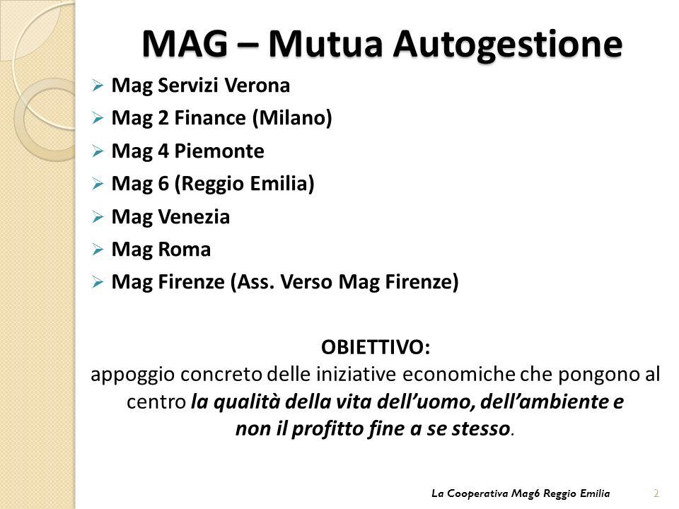 MAG – Mutua Autogestione Mag Servizi Verona Mag 2 Finance (Milano) Mag 4 Piemonte Mag 6 (Reggio Emilia) Mag Venezia Mag Roma Mag Firenze (Ass.
