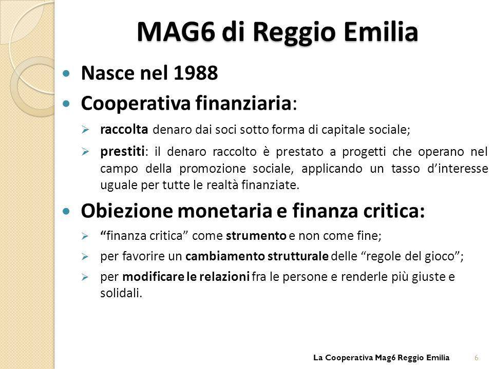 MAG6 di Reggio Emilia Nasce nel 1988 Cooperativa finanziaria: raccolta denaro dai soci sotto forma di capitale sociale; prestiti : il denaro raccolto è prestato a progetti che operano nel campo della promozione sociale, applicando un tasso dinteresse uguale per tutte le realtà finanziate.