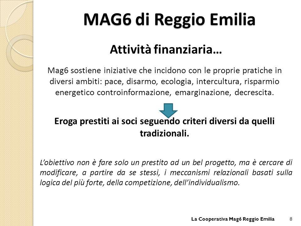 Attività finanziaria… Mag6 sostiene iniziative che incidono con le proprie pratiche in diversi ambiti: pace, disarmo, ecologia, intercultura, risparmio energetico controinformazione, emarginazione, decrescita.