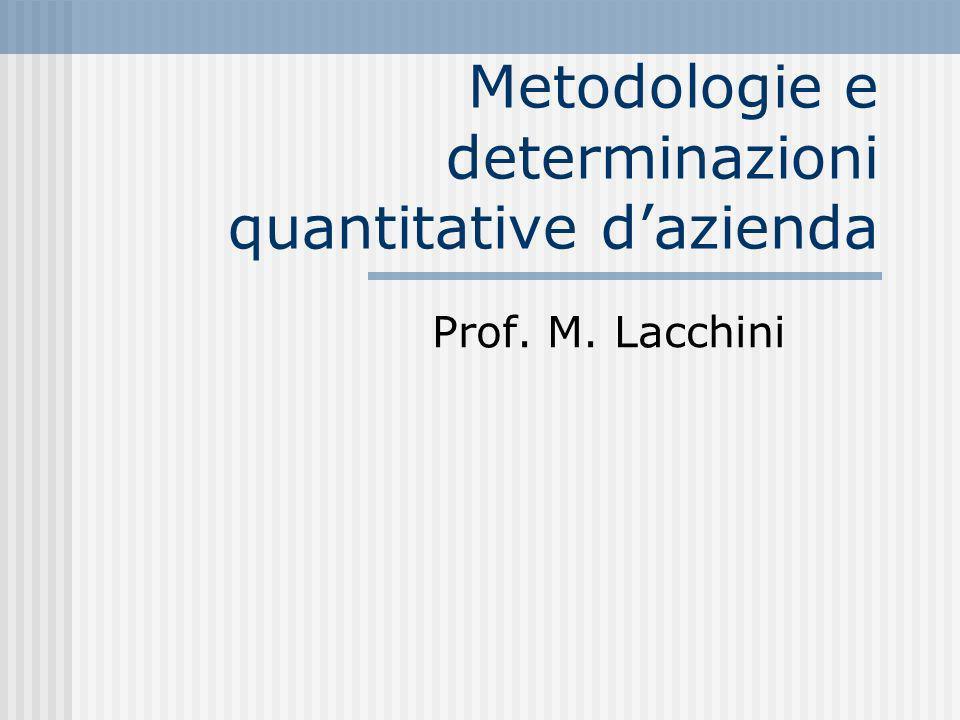 Metodologie e determinazioni quantitative dazienda Prof. M. Lacchini