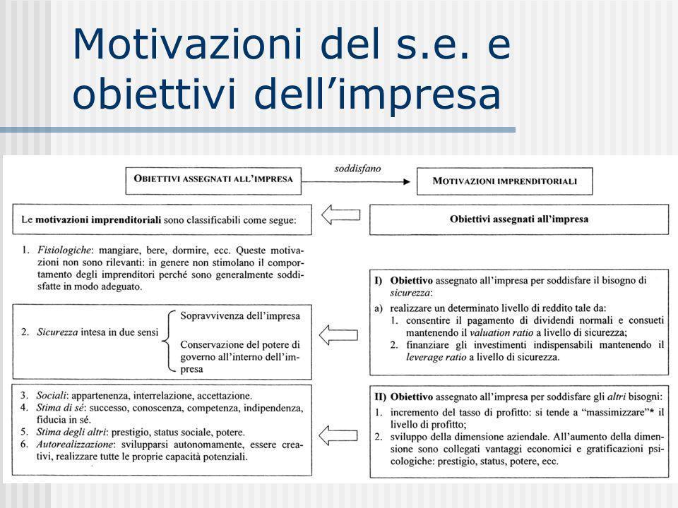 Motivazioni del s.e. e obiettivi dellimpresa
