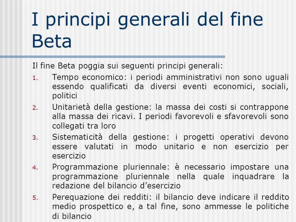 I principi generali del fine Beta Il fine Beta poggia sui seguenti principi generali: 1.