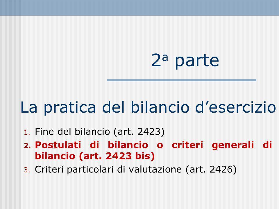 La pratica del bilancio desercizio 1.Fine del bilancio (art.