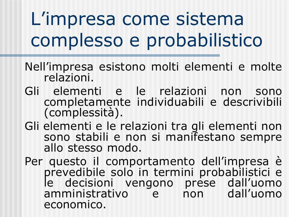 Limpresa come sistema complesso e probabilistico Nellimpresa esistono molti elementi e molte relazioni.