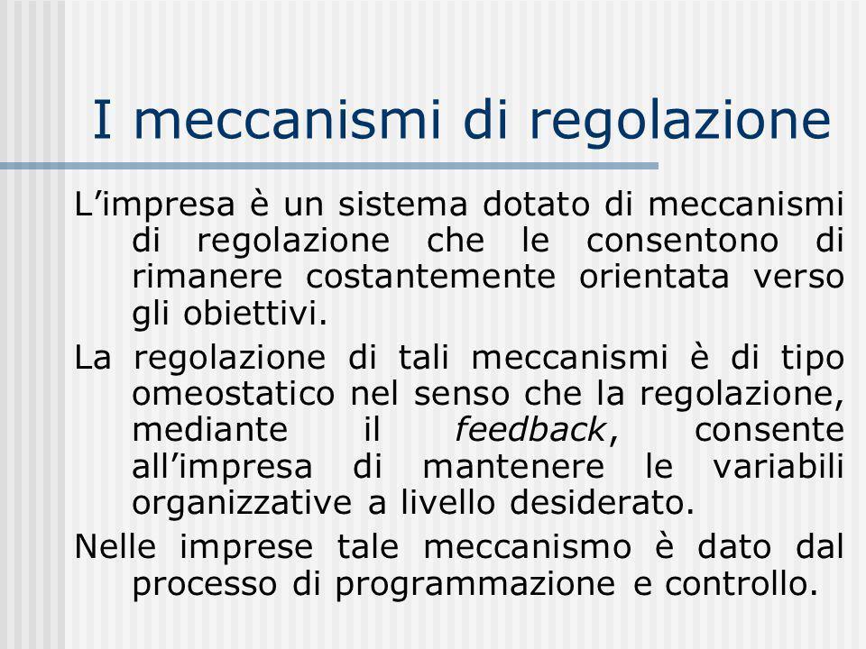 I meccanismi di regolazione Limpresa è un sistema dotato di meccanismi di regolazione che le consentono di rimanere costantemente orientata verso gli obiettivi.