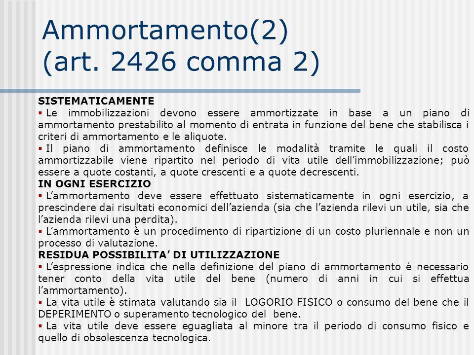 Ammortamento(2) (art.