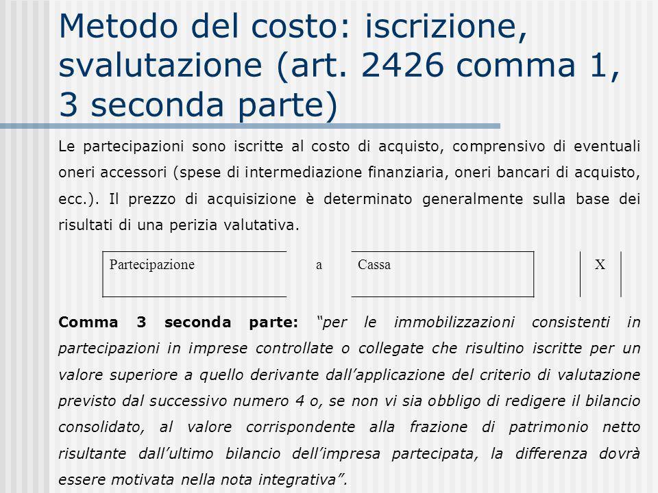 Metodo del costo: iscrizione, svalutazione (art.
