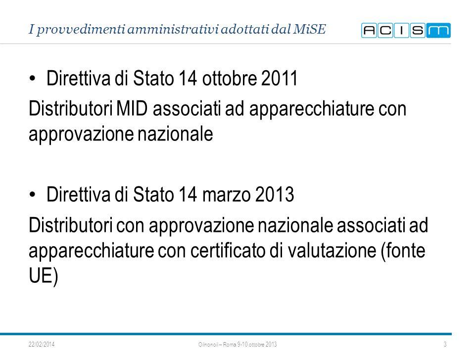 I provvedimenti amministrativi adottati dal MiSE Direttiva di Stato 14 ottobre 2011 Distributori MID associati ad apparecchiature con approvazione nazionale Direttiva di Stato 14 marzo 2013 Distributori con approvazione nazionale associati ad apparecchiature con certificato di valutazione (fonte UE) 22/02/20143Oilnonoil – Roma 9-10 ottobre 2013