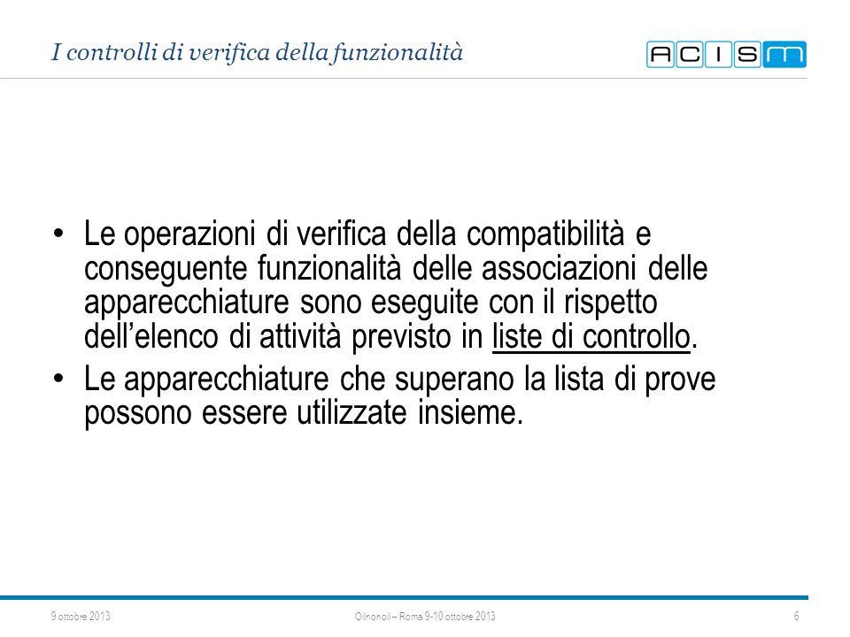 I controlli di verifica della funzionalità Le operazioni di verifica della compatibilità e conseguente funzionalità delle associazioni delle apparecch
