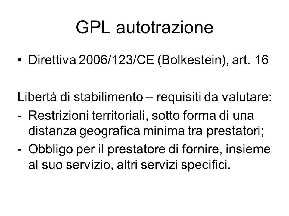 GPL autotrazione Direttiva 2006/123/CE (Bolkestein), art.