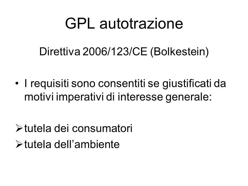GPL autotrazione Direttiva 2006/123/CE (Bolkestein) I requisiti sono consentiti se giustificati da motivi imperativi di interesse generale: tutela dei consumatori tutela dellambiente