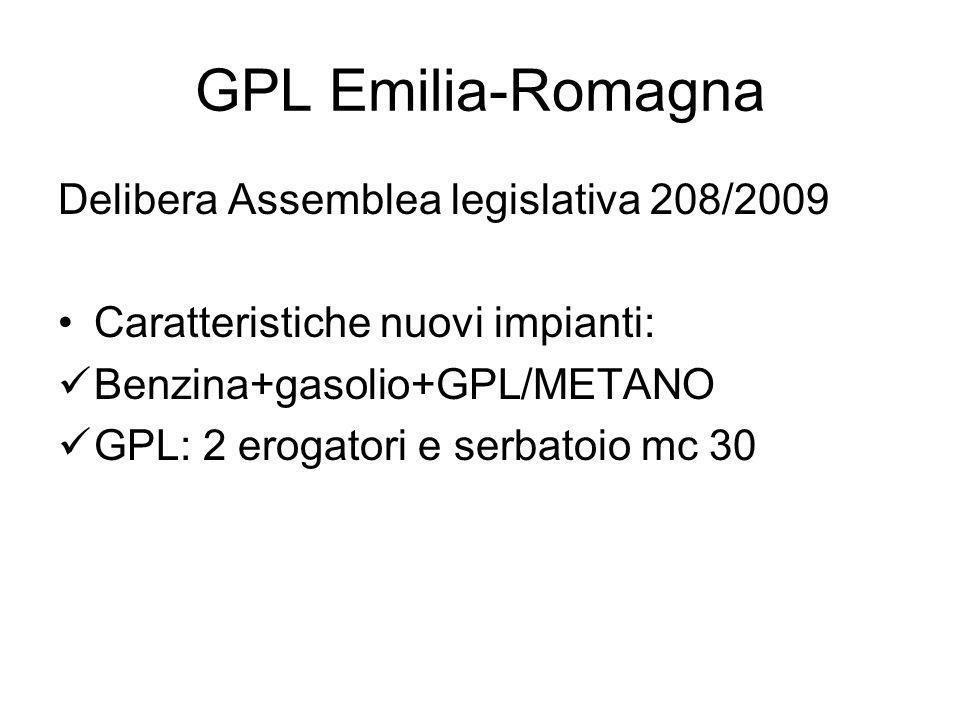 GPL Emilia-Romagna Delibera Assemblea legislativa 208/2009 Caratteristiche nuovi impianti: Benzina+gasolio+GPL/METANO GPL: 2 erogatori e serbatoio mc 30