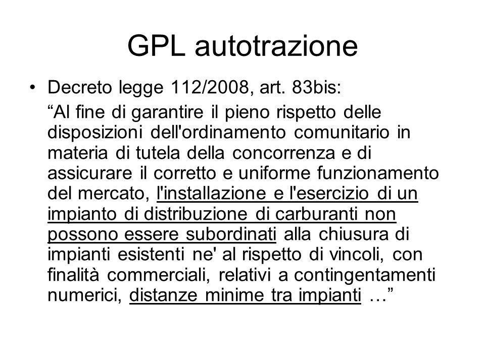 GPL autotrazione Decreto legge 112/2008, art.