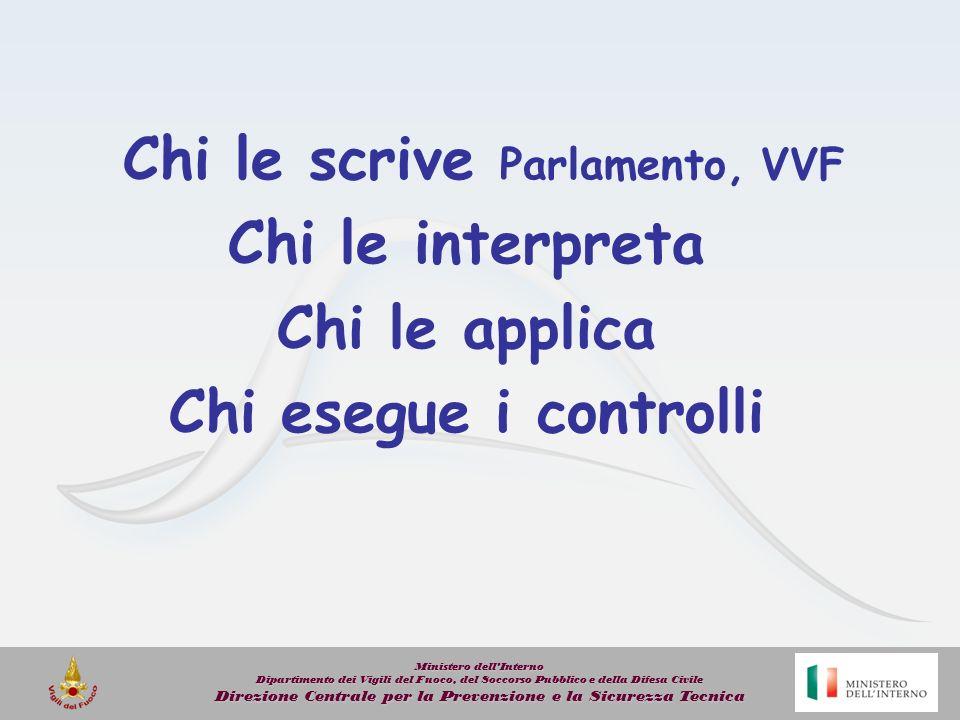 Chi le scrive Parlamento, VVF Chi le interpreta Chi le applica Chi esegue i controlli Ministero dellInterno Dipartimento dei Vigili del Fuoco, del Soc