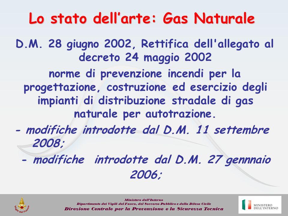 Lo stato dellarte: Gas Naturale D.M. 28 giugno 2002, Rettifica dell'allegato al decreto 24 maggio 2002 norme di prevenzione incendi per la progettazio