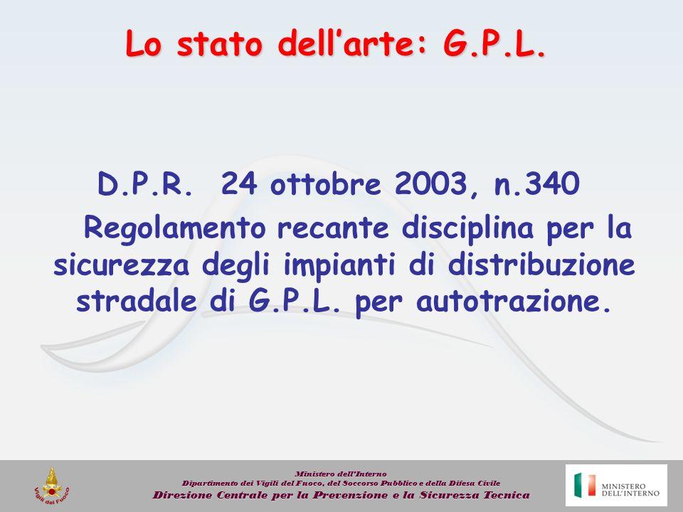 Lo stato dellarte: G.P.L. D.P.R. 24 ottobre 2003, n.340 Regolamento recante disciplina per la sicurezza degli impianti di distribuzione stradale di G.