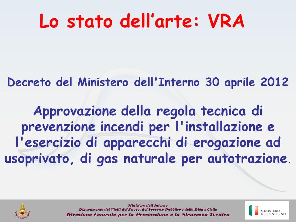 Lo stato dellarte: VRA Decreto del Ministero dell'Interno 30 aprile 2012 Approvazione della regola tecnica di prevenzione incendi per l'installazione