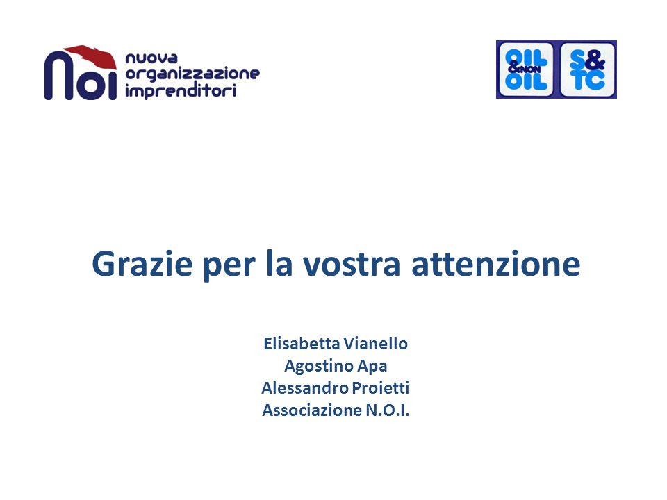 Grazie per la vostra attenzione Elisabetta Vianello Agostino Apa Alessandro Proietti Associazione N.O.I.