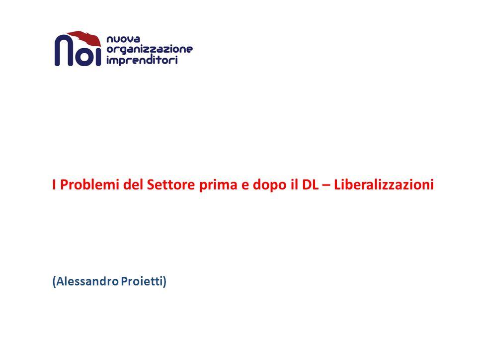I Problemi del Settore prima e dopo il DL – Liberalizzazioni (Alessandro Proietti)