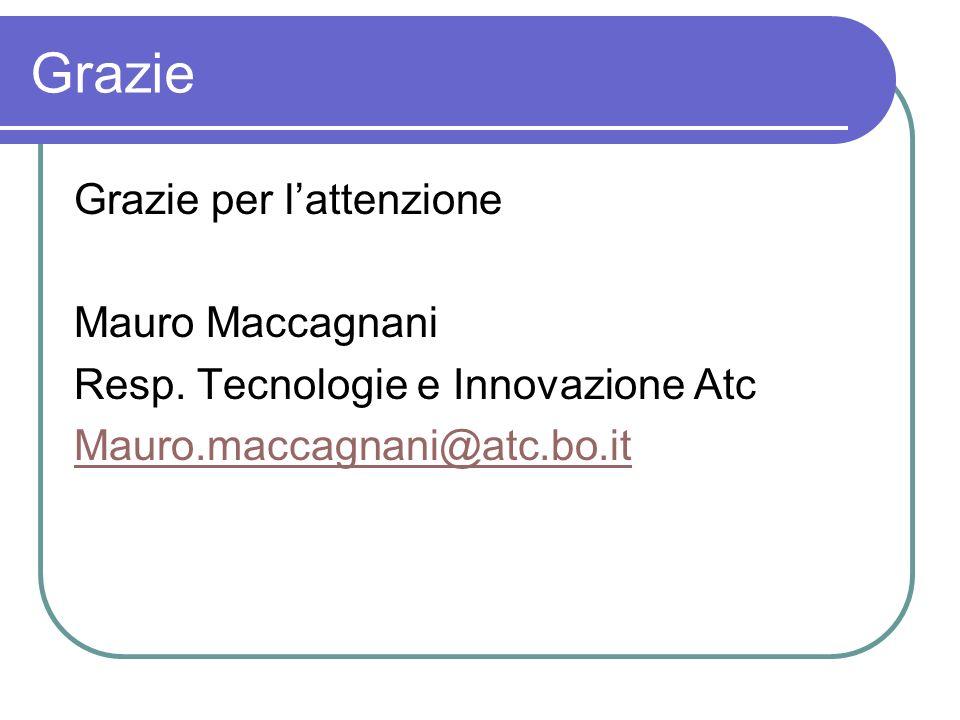Grazie Grazie per lattenzione Mauro Maccagnani Resp. Tecnologie e Innovazione Atc Mauro.maccagnani@atc.bo.it