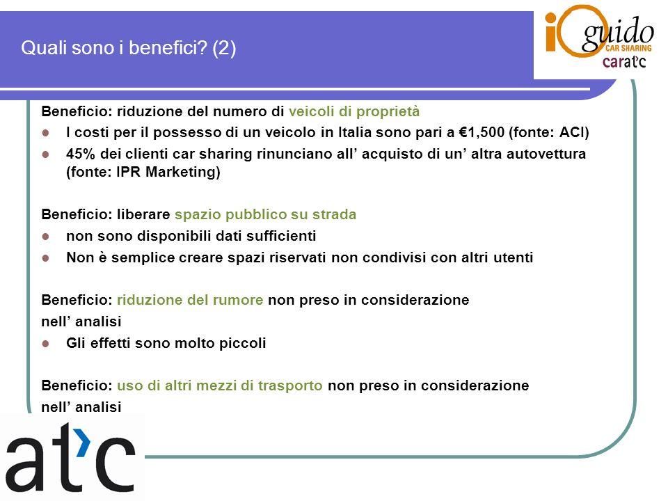 Quali sono i benefici? (2) Beneficio: riduzione del numero di veicoli di proprietà I costi per il possesso di un veicolo in Italia sono pari a 1,500 (