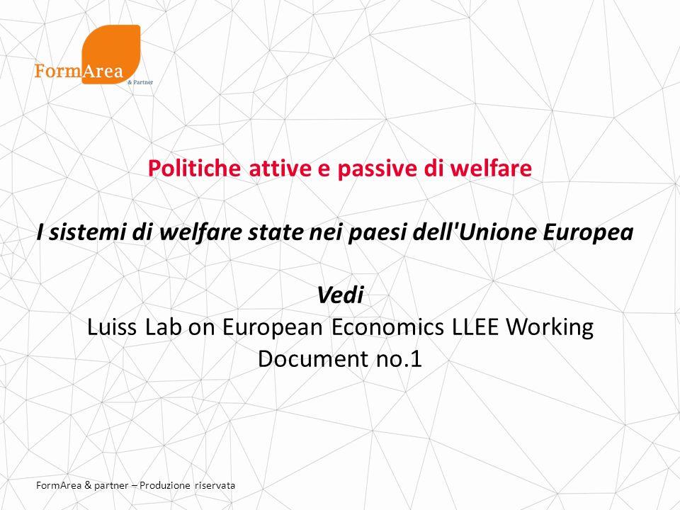 FormArea & partner – Produzione riservata Politiche attive e passive di welfare I sistemi di welfare state nei paesi dell Unione Europea Vedi Luiss Lab on European Economics LLEE Working Document no.1