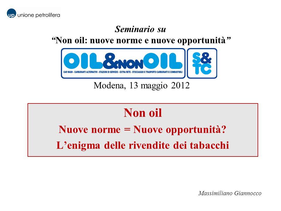 Seminario suNon oil: nuove norme e nuove opportunità Modena, 13 maggio 2012 Non oil Nuove norme = Nuove opportunità? Lenigma delle rivendite dei tabac