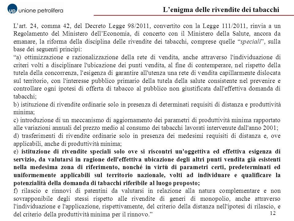 12 Lenigma delle rivendite dei tabacchi Lart. 24, comma 42, del Decreto Legge 98/2011, convertito con la Legge 111/2011, rinvia a un Regolamento del M