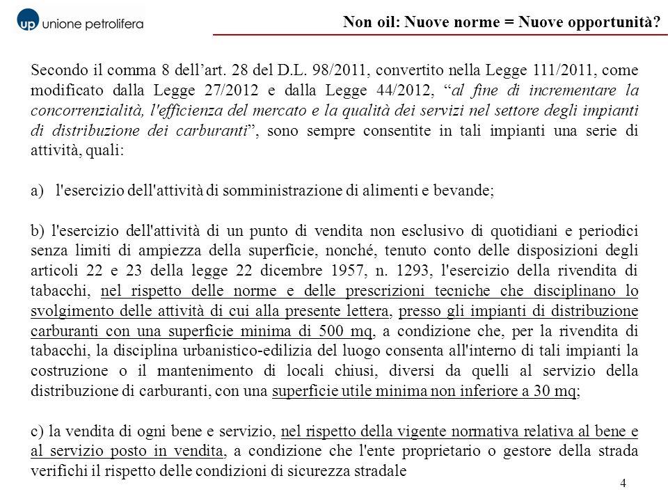 4 Non oil: Nuove norme = Nuove opportunità? Secondo il comma 8 dellart. 28 del D.L. 98/2011, convertito nella Legge 111/2011, come modificato dalla Le