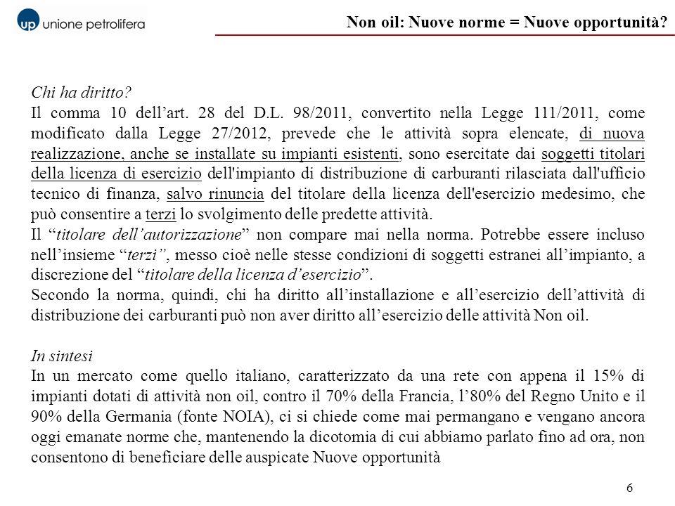 6 Non oil: Nuove norme = Nuove opportunità? Chi ha diritto? Il comma 10 dellart. 28 del D.L. 98/2011, convertito nella Legge 111/2011, come modificato