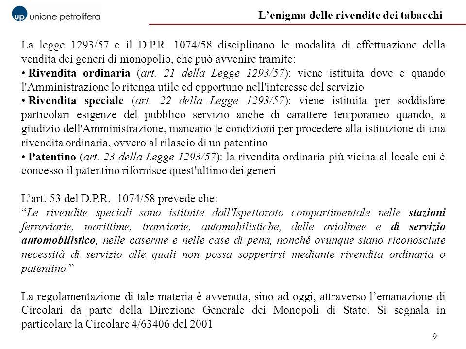 9 La legge 1293/57 e il D.P.R. 1074/58 disciplinano le modalità di effettuazione della vendita dei generi di monopolio, che può avvenire tramite: Rive