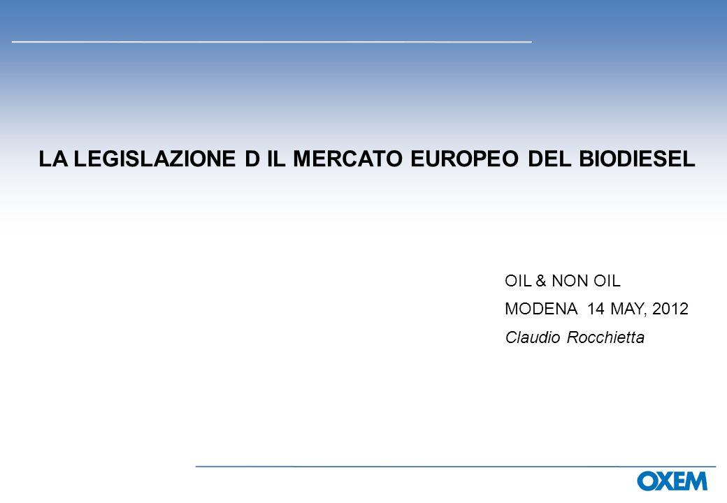 LA LEGISLAZIONE D IL MERCATO EUROPEO DEL BIODIESEL OIL & NON OIL MODENA 14 MAY, 2012 Claudio Rocchietta