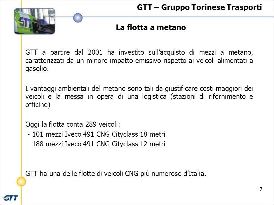 7 La flotta a metano GTT – Gruppo Torinese Trasporti GTT a partire dal 2001 ha investito sullacquisto di mezzi a metano, caratterizzati da un minore impatto emissivo rispetto ai veicoli alimentati a gasolio.