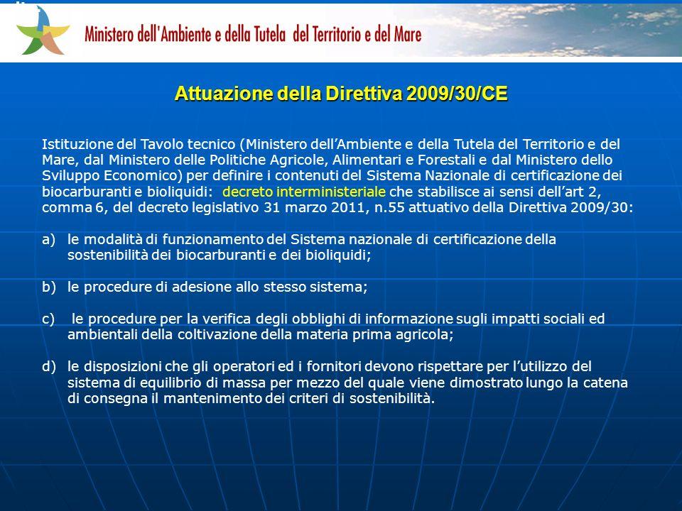 Attuazione della Direttiva 2009/30/CE vita.