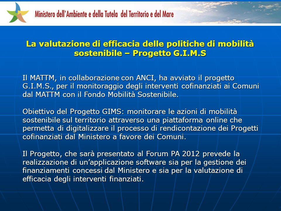 Il MATTM, in collaborazione con ANCI, ha avviato il progetto G.I.M.S., per il monitoraggio degli interventi cofinanziati ai Comuni dal MATTM con il Fondo Mobilità Sostenibile.