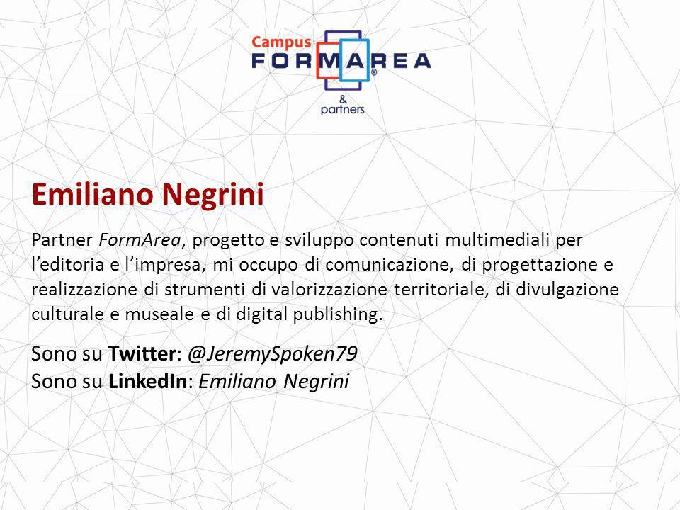 Emiliano Negrini Partner FormArea, progetto e sviluppo contenuti multimediali per leditoria e limpresa, mi occupo di comunicazione, di progettazione e realizzazione di strumenti di valorizzazione territoriale, di divulgazione culturale e museale e di digital publishing.