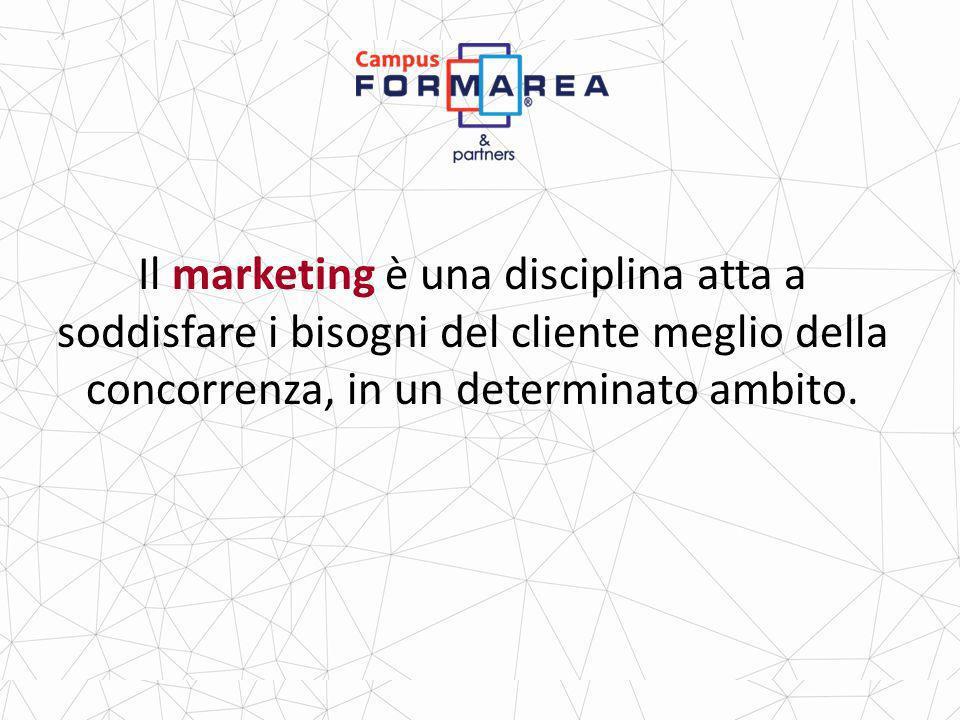 Il marketing è una disciplina atta a soddisfare i bisogni del cliente meglio della concorrenza, in un determinato ambito.